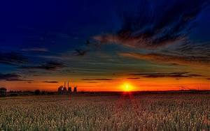 Beautiful Sunset Over Wheat Fields Hdr 1438167 ...