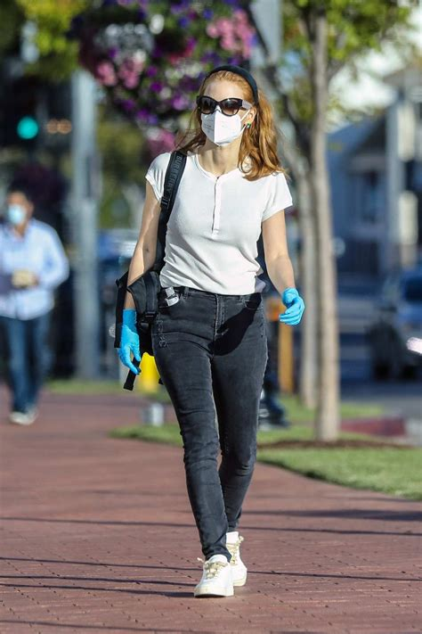 Jessica Chastain seen wearing mask and gloves during a ...
