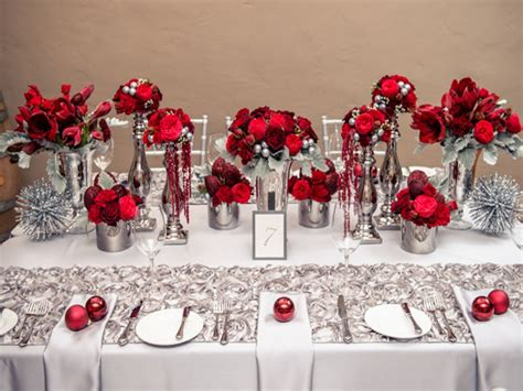 black table setting ideas red white  silver wedding