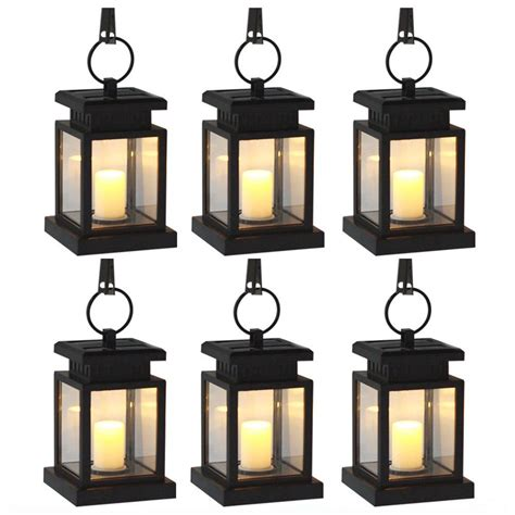 outdoor candle lanterns hanging 6 pack solar power led hang light outdoor lantern candle effect light for garden patio