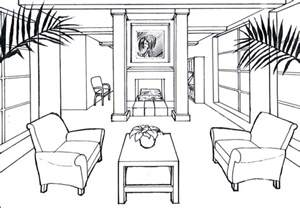 One Point Perspective Drawing Room