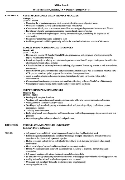 Supply Chain Project Manager Resume supply chain project manager resume sles velvet