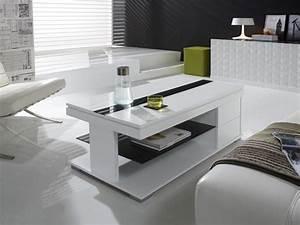Table Salon Blanc Laqué : table basse relevable blanc laqu design elsye ~ Teatrodelosmanantiales.com Idées de Décoration