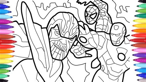thanos vs iron man and spiderman coloring pages avengers