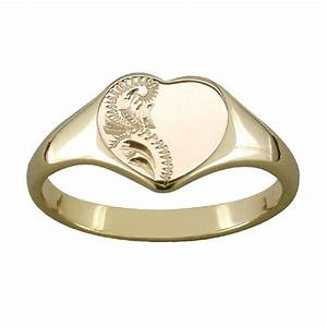 gold signet ladies engraved heart ring With signet ring wedding band
