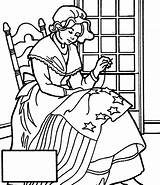 Betsy Ross Flag Coloring Sewing American Things Coloringkidz sketch template