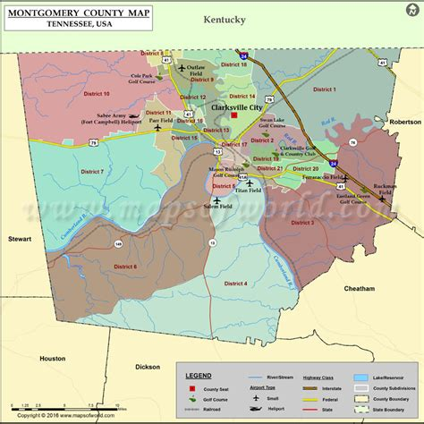 Montgomery County Map, TN   Map of Montgomery County Tennessee