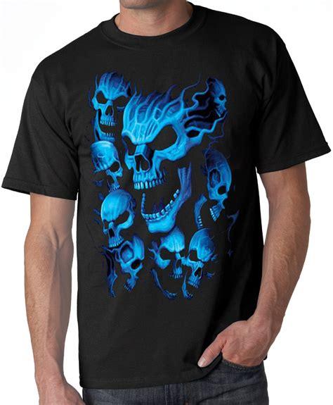 blue skulls biker tee shirt black screaming blue