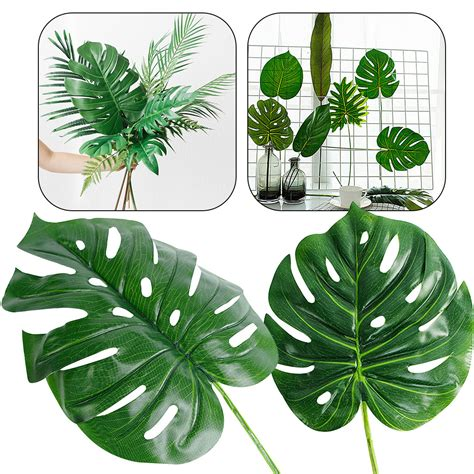 piece artificial fake monstera palm leaves leaf shaped
