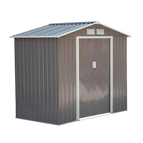 outsunny 7 x 4 outdoor metal garden storage shed gray
