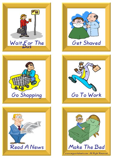 daily routine esl printable english flash cards worksheets
