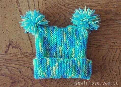 baby hat knitting pattern  pom poms garter stitch  sew  love
