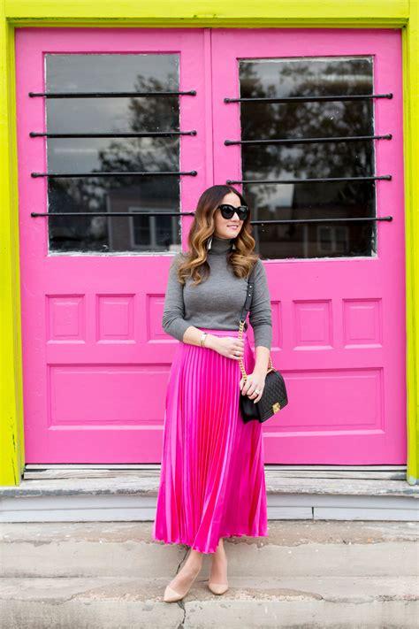 pink satin pleated midi skirt