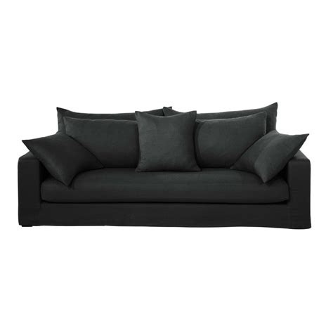 Canape Anthracite 3 Places by Canap 233 3 Places En Lin Lav 233 Anthracite Gaspard Maisons
