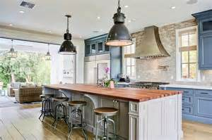 blue center island with white quartz countertop
