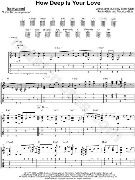 "Kelly Valleau ""how Deep Is Your Love"" Guitar Tab In C"