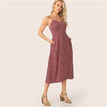 Floral Sundress Pocket Chic Button Side Maroon