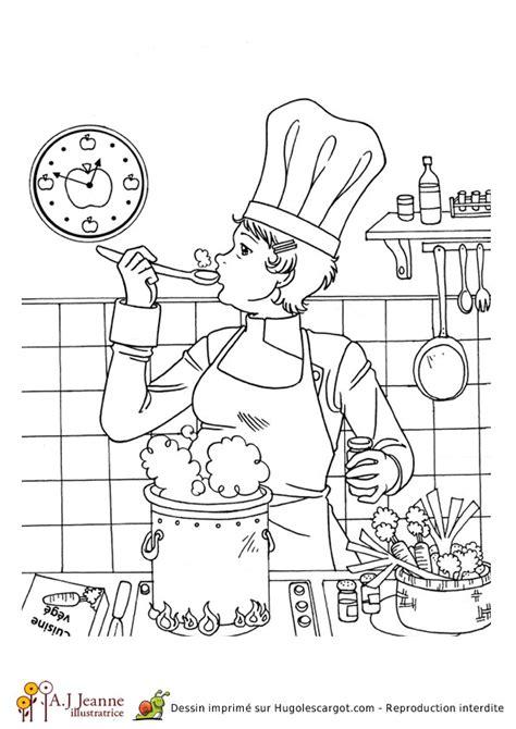 apprendre a cuisiner en ligne coloriage d une cuisinière hugolescargot com