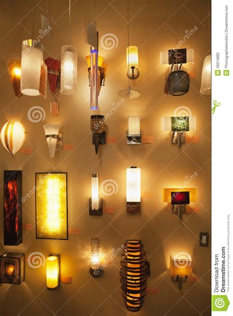 wall lamps  display  lights store stock photo image