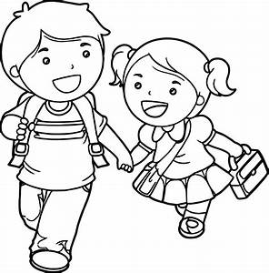 Boy And Girl Lets Go School Coloring Page | Wecoloringpage