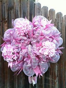 Deco Mesh Baby Girl Wreath with Pink Flowers Ribbon Baby