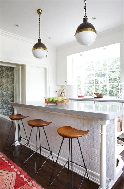 Subway Tiled Kitchen Island With Turned Legs