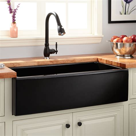 signature hardware kitchen sinks 36 quot dorhester fireclay reversible farmhouse smooth