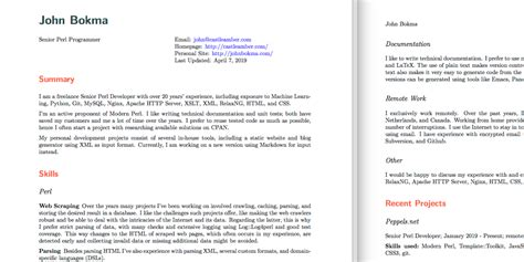 github bokma resume pandoc latex resume template for pandoc based jason r blevins