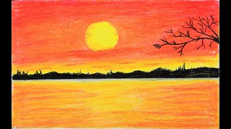 draw scenery  red sunset  oil pastels step