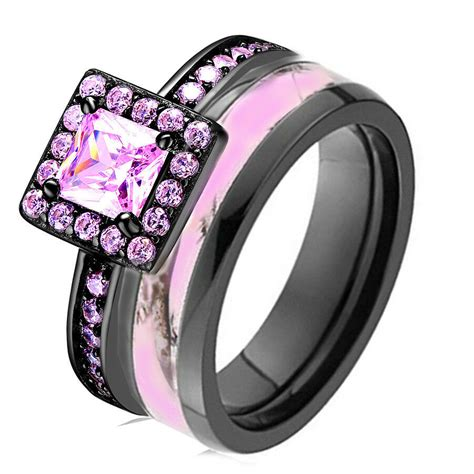 pink camo black 925 sterling silver titanium engagement wedding ring band ebay