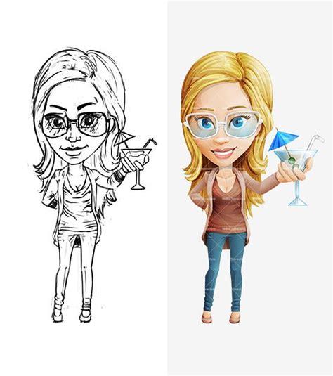 female cartoon character  glasses pencil drafts