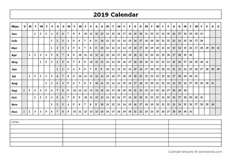 blank year   glance calendar  printable