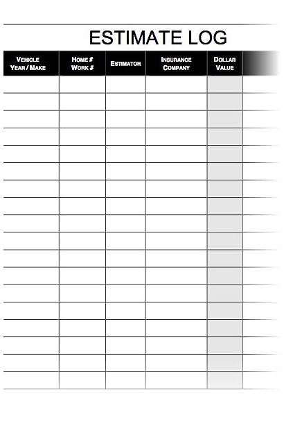 Estimate Log Sheet Autobody Daily Prev