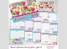 Planner Mensal e Calendário 2019 A4 Floral Modelo 03 no