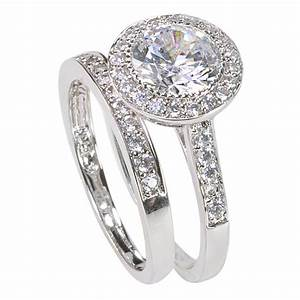 Women39s sterling silver engagement ring set 2ct cubic for Sterling silver cubic zirconia wedding rings