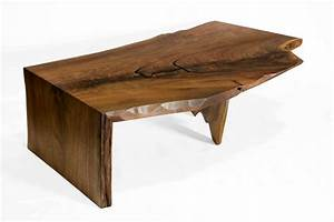 superior woodcraft claro walnut live edge waterfall With live edge waterfall coffee table