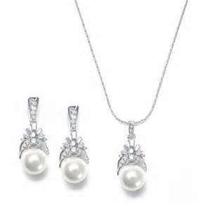 bridesmaid jewelry set pearl bridal wedding necklace set trendy mods