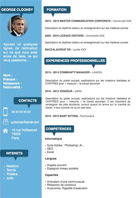 Comment Faire Un Cv Exemple Gratuit by Exemple Type De Cv Mod 232 Le De Cv 233 Tudiant Forestier Rhone