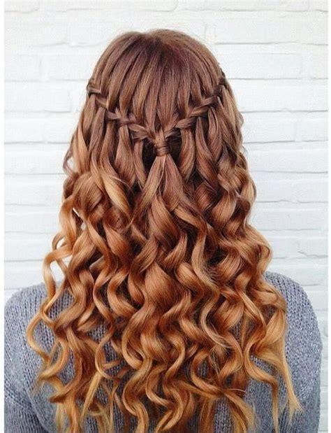 glamorous waterfall braid  curly hair  hairstyles  long hair