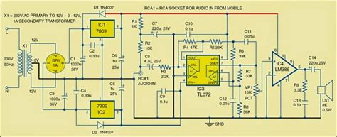 Simple Low Power Audio Amplifier Electronic Circuits Diagram