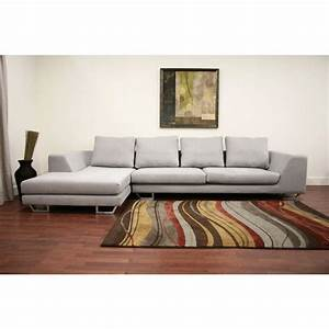 Baxton studio metropolitan twill large 2 piece sectional for Metropolitan large grey sectional sofa with chaise