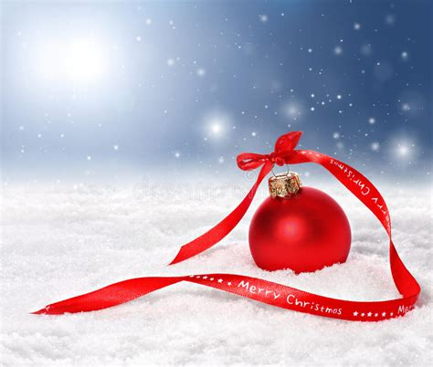 christmas background with bauble and merry christmas ribbon stock image image of