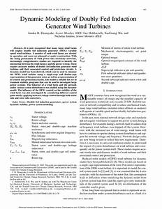 Pdf  Dynamic Modeling Of Doubly Fed Induction Generator Wind Turbines