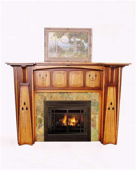 arts crafts style fireplace mantel  ornate