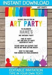Art party invitations theruntimecom for Free art party invitation templates