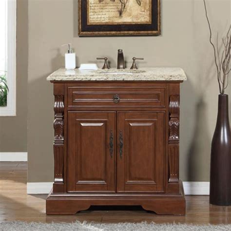 36 Inch Traditional Single Bathroom Vanity with Venetian Gold Top UVSRV0278VW36C