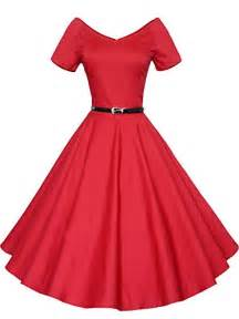 Women's Vintage 1950s V-neck Dress With Belt Short Sleeve Swing Rockabilly Gown Party Dress
