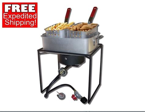 French Fry Stove Deep Fryer Food Double Basket Cooker