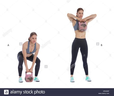 kettlebell pull row upright deadlift exercise sumo pulls workout fitness shoulder woman glutes perform snatch alamy forgotten routine preview requisites