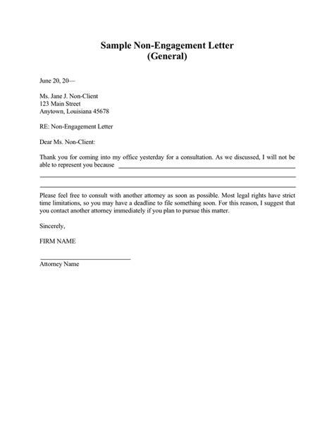 attorney engagement letter sample non engagement letter in word and pdf formats 20522 | sample non engagement letter 1